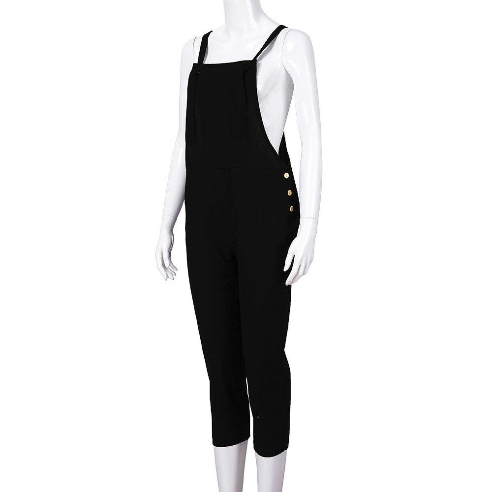 STRIR Mujer Petos Casual Pantalones Holgados Pierna Ancha Mono Vaqueros Pants XL, Negro