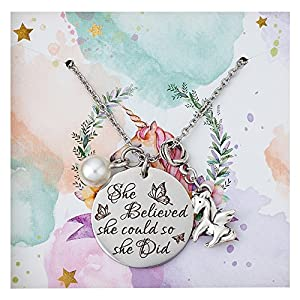 AnotherKiss Inspirational Jewelry Necklace - Unicorn Pendant Graduation Birthday Gifts for Women Girls