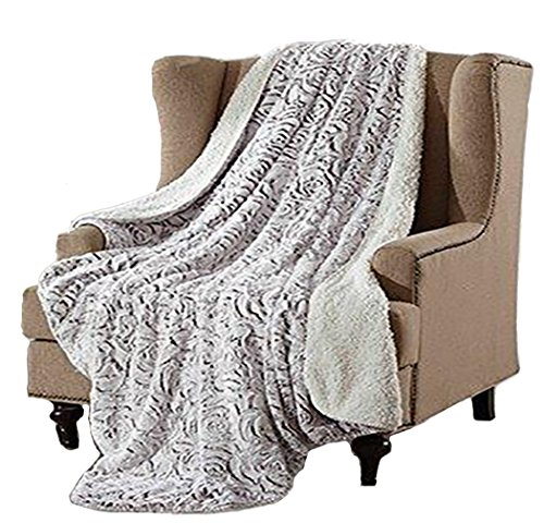Duke Imports Regal Comfort Faux Fur Luxury Sherpa Throw Blanket (Grey Rose) by Duke Imports