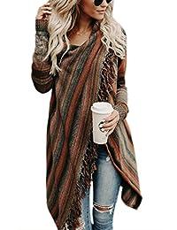 Zilcremo Women Stripes Tassels Irregular Fringed Ethnic Cardigan Outerwear