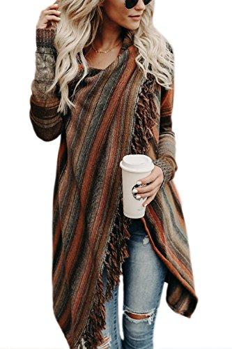 Zilcremo Mujer Invierno Casual Borlas con Flecos De Rayas Irregulares Étnicas Cardigan Abrigos Orange