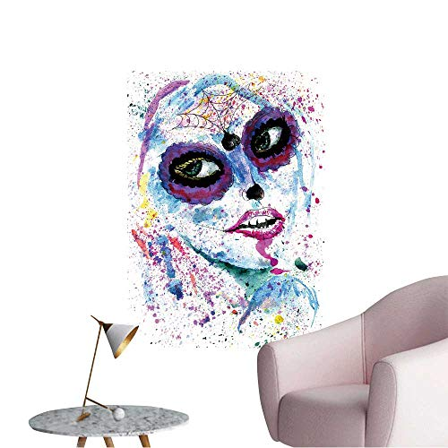 Wall Stickers for Living Room Halloween Girl with Sugar Skull Makeup,Watercolor Painting. Vinyl Wall Stickers Print,16