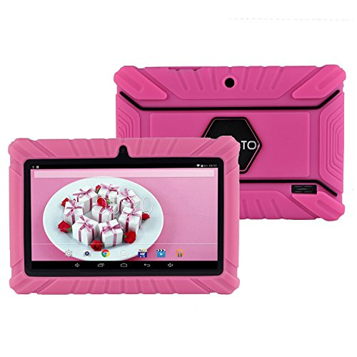 Aokay Rugged Defender Armor Kids' Silicone Anti-Slip Cover for Select 7-Inch Tablets for Dragon Touch Alldaymall Tablet and More (Hot Pink) (Tablet Covers For Kids compare prices)