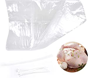 A&I 30 Pack Clear Poultry Shrink Wrap with 30 Zip Ties & Silicone Straws – 10 x 16 Inches Freezer Safe Heat Shrink Wraps Ideal for Chicken, Rabbits & Small Game – BPA Free, Food Grade