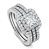 DTLA Princess Cut Center Stone CZ Sterling Silver Triple Band Engagement Ring & Wedding Band (7)