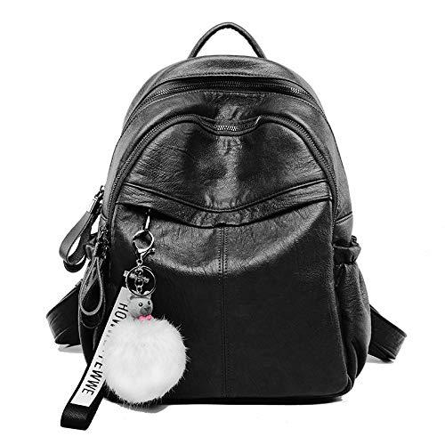 Travel Fashion Women's Handbag Shuangjian Leather Multi Practical Bag Ladies Black Backpack function 4q80dqHw
