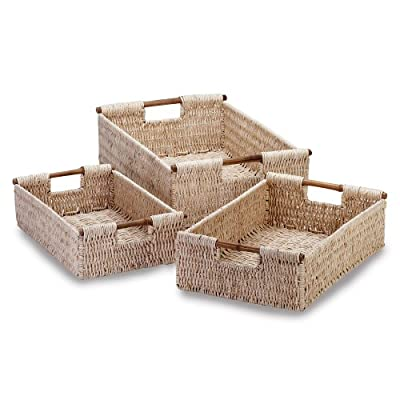 Gifts Decor Bamboo Handle Woven Corn Husk Nesting Basket 3-piece from Furniture Creations