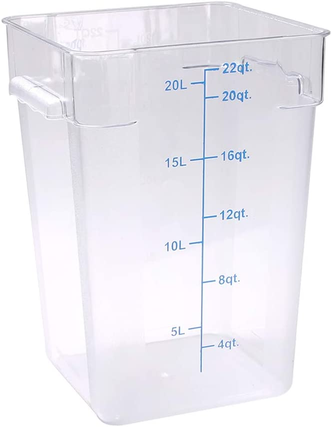 Met Lux 22 qt Square Clear Plastic Food Storage Container - with Blue Volume Markers - 11