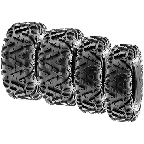(SunF Power.I ATV/UTV all-terrain Tires 25x8-12 Front & 25x10-12 Rear, Set of 4 A033, 6-PR, Tubeless)