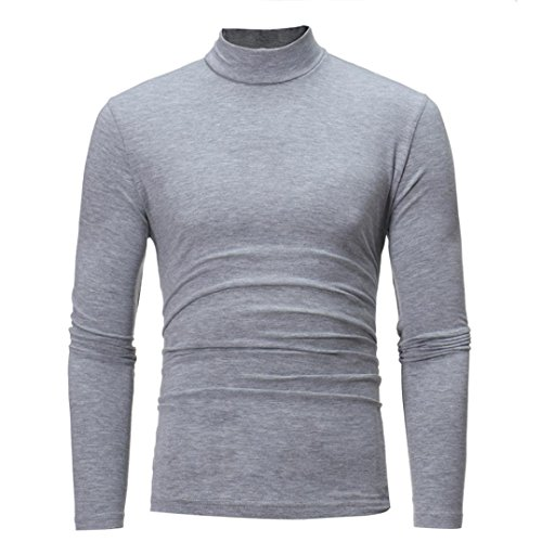 (Sunhusing Men's Autumn and Winter Solid Color Turtleneck Long Sleeve Top Elastic Slim Pullover Gray)