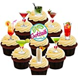 Cocktail Party Pack Edible Cupcake Toppers - Stand-up Wafer Cake Decorations by Made4You