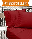 Elegant Comfort Best, Softest, Coziest Sets-1500 Thread Count Egyptian Quality Luxurious Wrinkle Resistant 6-Piece Damask Stripe Bed Sheet Set, Queen, Burgundy