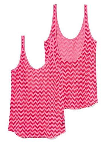 Victoria's Secret Pink Low-Back Tank top, Pink Chevron, Small