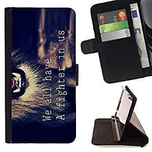 For Samsung Galaxy Core Prime Motivational Fighter Lion Text Quote Style PU Leather Case Wallet Flip Stand Flap Closure Cover