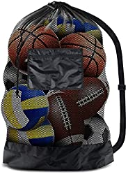 BROTOU Extra Large Sports Ball Bag Mesh Socce Ball Bag Heavy Duty Drawstring Bags Team Work for Holding Basket