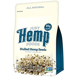 Just Hemp Foods Hemp Hearts Shelf Stable Hemp Seeds, 24oz; with 10g Protein & 12g Omegas per Serving, Keto, Gluten Free, Vegan, Whole 30, Paleo, Non-GMO