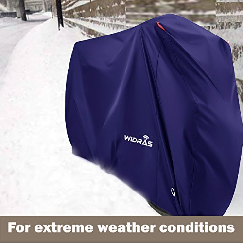 Widras Bicycle and Motorcycle Cover for Outdoor Storage Bike Heavy Duty Rip stop Material, Waterproof & Anti-UV Protection from All Weather Conditions for Mountain & Road Bikes by Widras (Image #7)