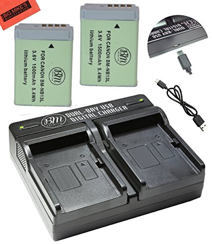 BM Premium 2-Pack of NB-13L Batteries and USB Dual Battery Charger for Canon PowerShot G1 X Mark III, G5 X, G7 X, G7 X Mark II, G9 X, G9 X Mark II, SX620 HS, SX720 HS Digital Camera -  Big Mike's, BM-NB13LK4-DC