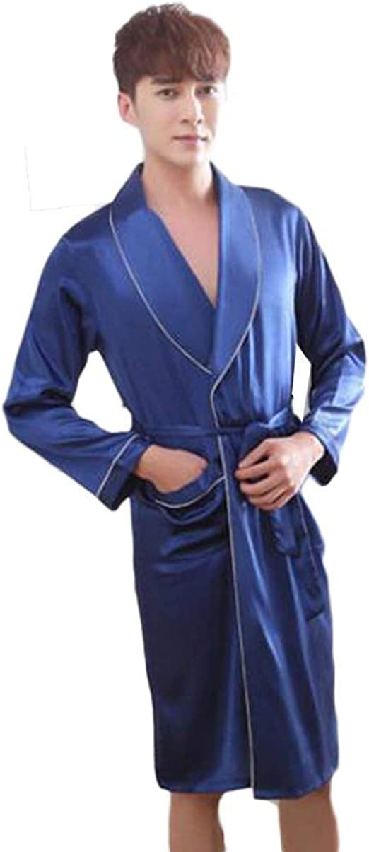 Bata De Ba/ño Color : Azul, Tama/ño : XXXL Manga Larga Y Pantalones Cortos Albornoz Bata De Ba/ño para Hombre Camis/ón Camis/ón Pijama De Seda Fina