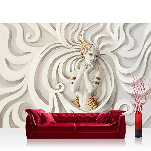 Vlies Fototapete 200x140 cm PREMIUM PLUS Wand Foto Tapete Wand Bild Vliestapete - A PERFECT WOMAN - Frau Erotik Gold elegant 3D Wand - no. 045