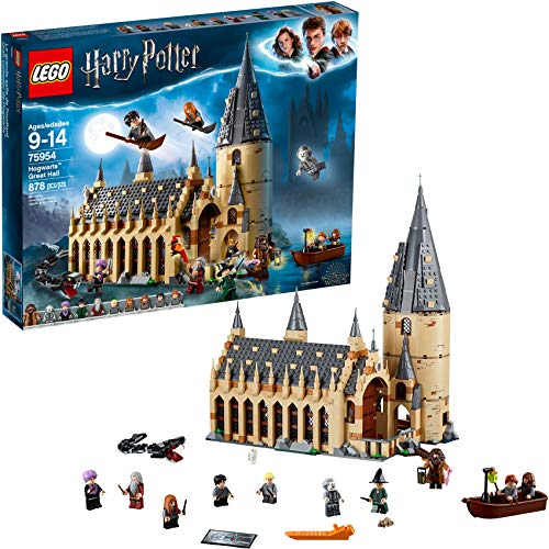 LEGO Harry Potter Hogwarts Great Hall 75954 Building Kit and Magic Castle Toy, Fantasy Creatures, Hermione Granger, Draco Malfoy and Hagrid (878 Pieces) from LEGO