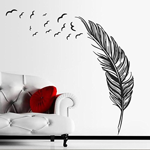 Hatop New Wall Sticker Birds Feather Bedroom Home Decal Mural Art Decor ( Black)