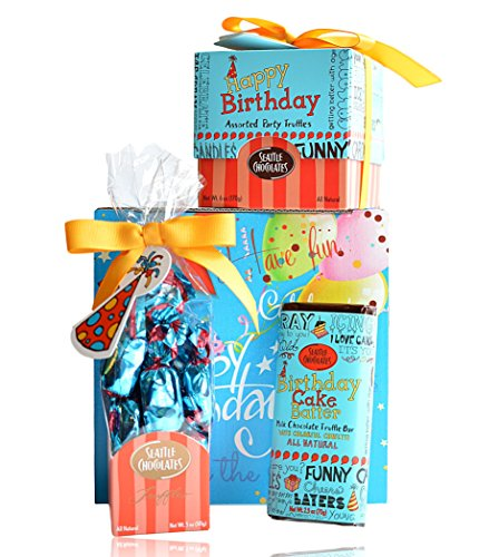 Happy Birthday Chocolate Set By Seattle Chocolates Premium Quality All Natural Non-GMO Chocolate