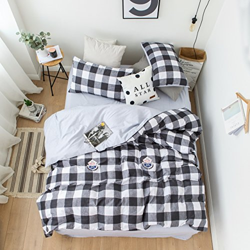 Duvet Cover Set Twin Size 3 Piece (1pc Duvet Cover + 1pc Flat Sheet + 1pc Pillowsham) by WarmGo, 100% Cotton Bedding Set Black Grey White Checked - Not Include Comforter by WarmGo
