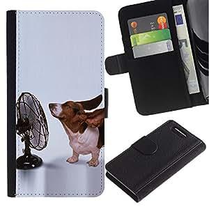 Billetera de Cuero Caso Titular de la tarjeta Carcasa Funda para Sony Xperia Z1 Compact D5503 / Basset Hound Funny Small Dog Ears / STRONG