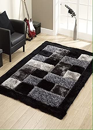 SRHandloom Superfine Polyester Carpet for Bedroom, Hall and Living Room (1 Welcome Mat Free) - Black&White Carpets at amazon