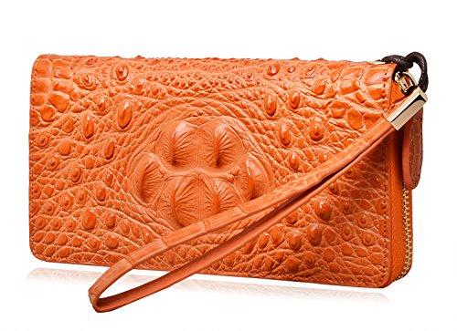 - PIJUSHI Wristlet Wallet For Women Crocodile Leather Wallet Ladies Clutch Purse (8011 orange croco)