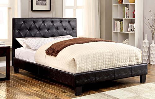Furniture of America Splatan Leatherette Platform Bed, California King, Black