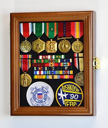 (XS Military Pin Display Case Cabinet Box for Medals Pins Patches Insignia Ribbons w/98% UV Lockable)