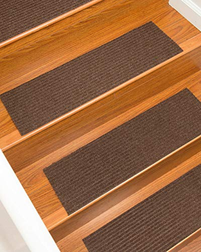 (Natural Area Rugs Halton, Polyester Chocolate, Handmade Stair Treads Carpet Set of 4 (9