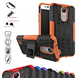 Mama Mouth Shockproof Heavy Duty Combo Hybrid Rugged Dual Layer Grip Cover with Kickstand For LG K8 2017 /LG K4 2017 /LG X300 /LG M200N /MS210 /LV3 (5.0') Smartphone,Orange