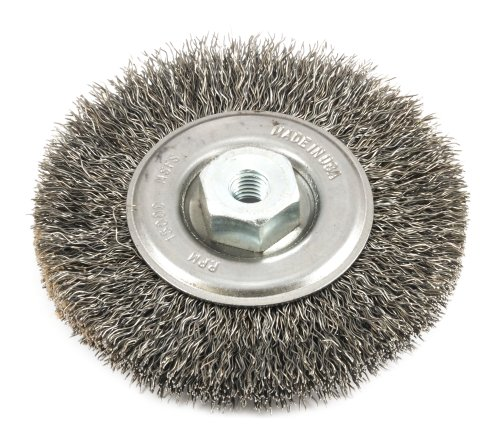 """Forney 72236 Wire Crimped Wire Wheel Brush, 4"""" x .014"""" Wire with M10x1.50mm Arbor, Bulk"""