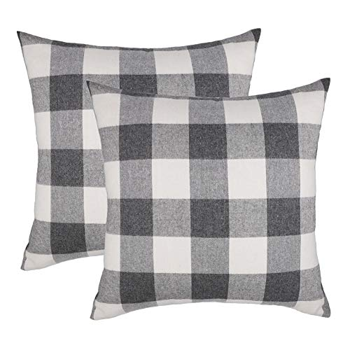 4TH Emotion 20x20 Grey White Buffalo Check Plaids Throw Pillow Case Cushion Cover Holiday Decor Cotton Polyester for Sofa Set of 2 Black Friday & Cyber Monday 2018