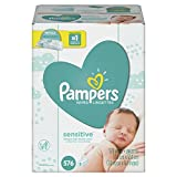 Baby : Pampers Sensitive Water-Based Baby Diaper Wipes, 9 Refill Packs for Dispenser Tub - Hypoallergenic and Unscented - 576 Count