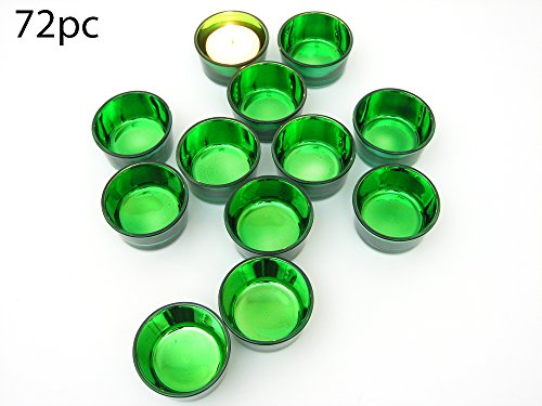 Green Glass Tea Light Candle Holders - Set of 72 - Christmas Centerpiece Candles - Tealight Candle Holders - St Patricks Day - Green Decorations - Green Candle Holders