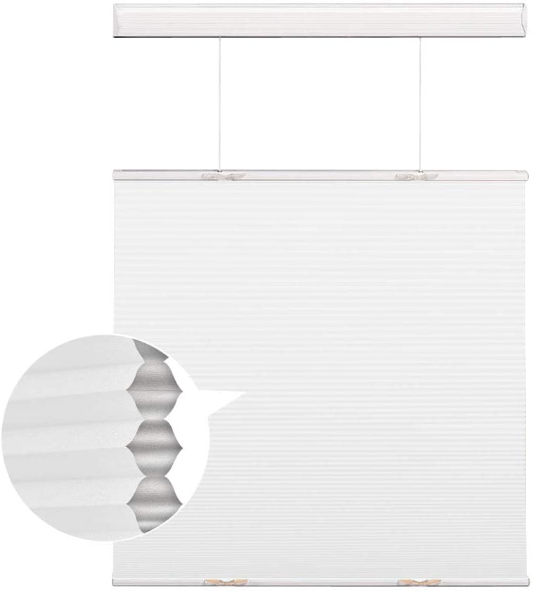 Cordless Cellular Shades Honeycomb Blinds, White Blackout Top Down and Bottom Up Window Blinds, Custom Honeycomb Shades for Windows, Doors, French Doors, Sliding Glass Doors, Kitchen