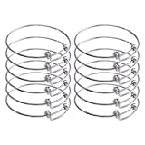 ZX Jewelry 12pcs Womens Expandable Blank Bangles Bracelets for Jewelry DIY Making 2.6inch