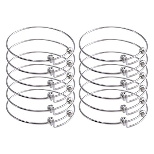 (ZX Jewelry 12pcs Womens Expandable Blank Bangles Bracelets for Jewelry DIY Making 2.6inch)