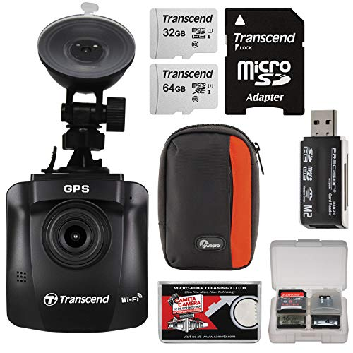 Transcend DrivePro 230 1080p Full HD Car Dashboard Video Recorder with Suction Cup + 32GB & 64GB Cards + Case + Reader + Kit
