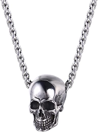 U7 Men Silver Black Gothic Skull Necklace Stainless Steel Chain Pendant 20 Inch Amazon Com