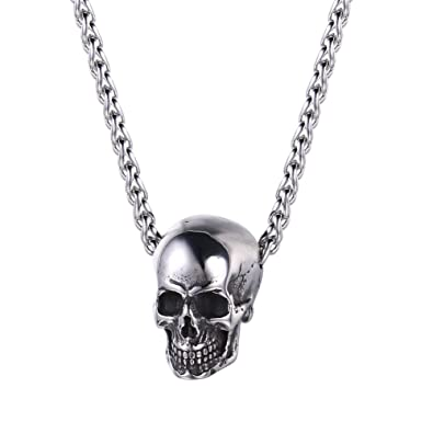 U7 Men Silver Black Gothic Skull Necklace Stainless Steel Chain