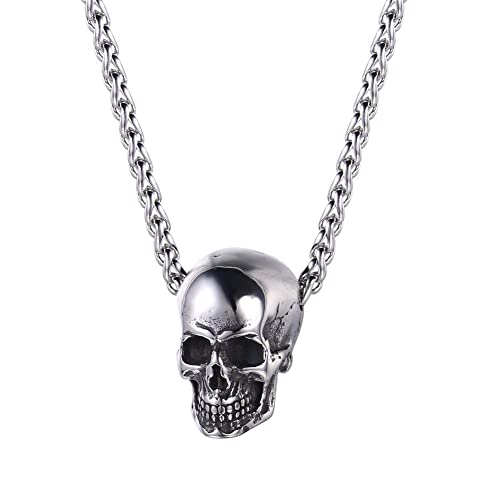 3957e538d6b61 U7 Men Personalized Silver Black Gothic Skull Necklace Stainless Steel /18K  Gold/Black Leather Chain Pendant, 20 Inch to 26 Inch