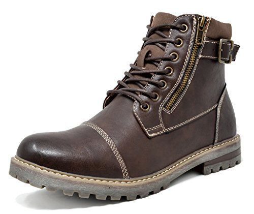 Bruno Marc Men's Engle-05 Dark Brown Motorcycle Combat Oxford Boots Size 9.5 M US