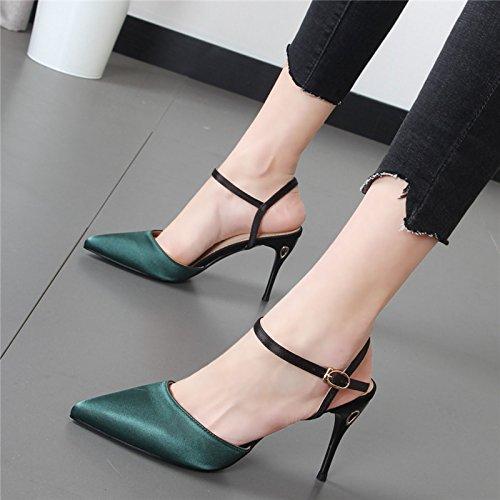 Xue Qiqi Bien corte con mujer sandalias zapatos de para tacones punta El de calzado mujer verde chica qqrCwd5Bnx