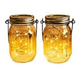 Solar Powered Mason Jar Hanging Lights 2-Pack 20 LED Solar / Hanging Lantern Decor Table Light, Patio Path Light, Warm White Lamp for Garden Patio Outdoor Solar Lanterns( Mason Jar & Hanger Included …
