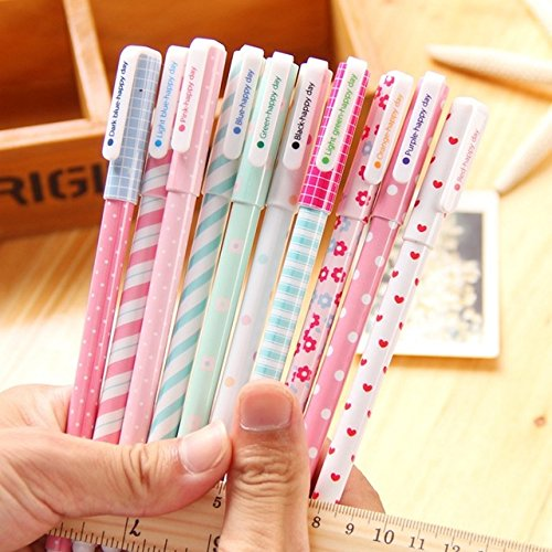 Katoot@ 10 pcs/set Cute flower colored gel pens for writing 0.38mm colorful ink signature pen stationery office school supplies]()